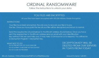 remove Ordinal ransomware