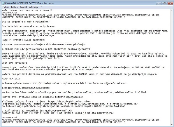 Ransom Note of Godra Ransomware