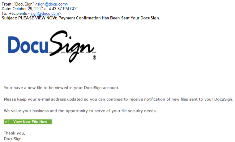Delete DocuSign Phishing Scam